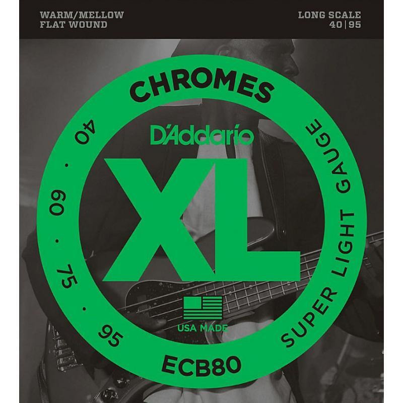 Струны для бас-гитары D'Addario ECB80 Chromes Flatwound Super Light Bass Strings 40/95