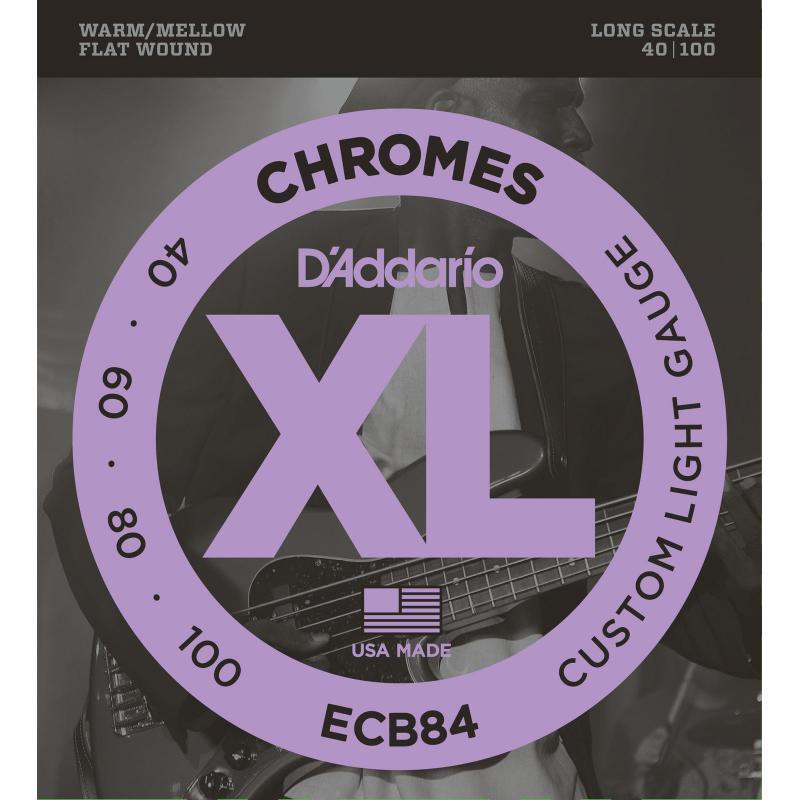 Струны для бас-гитары D'Addario ECB84 Chromes Flatwound Custom Light Bass Strings 40/100