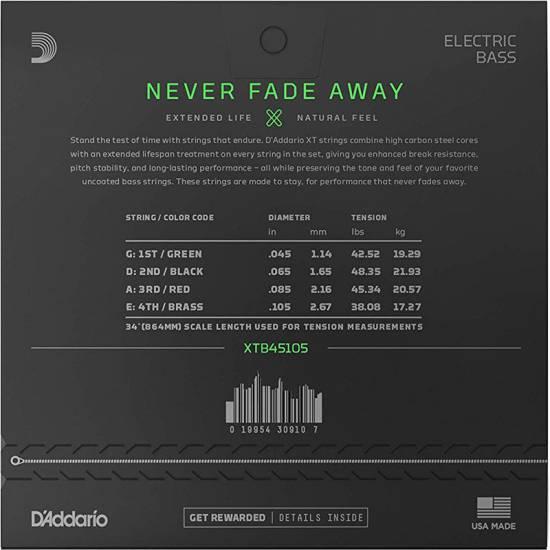 Струны для бас-гитары D'Addario XTB45105 XT Bass Light Top/Medium Bottom 45/105
