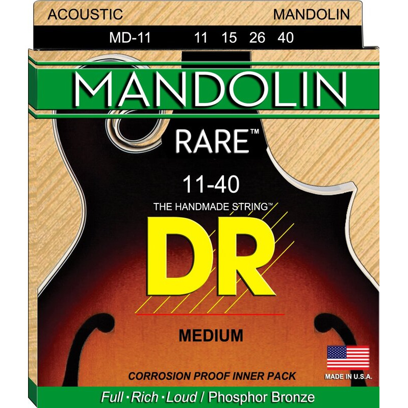 Струны для мандолины DR MD-11 Rare Phosphor Bronze Medium Mandolin Strings 11/40