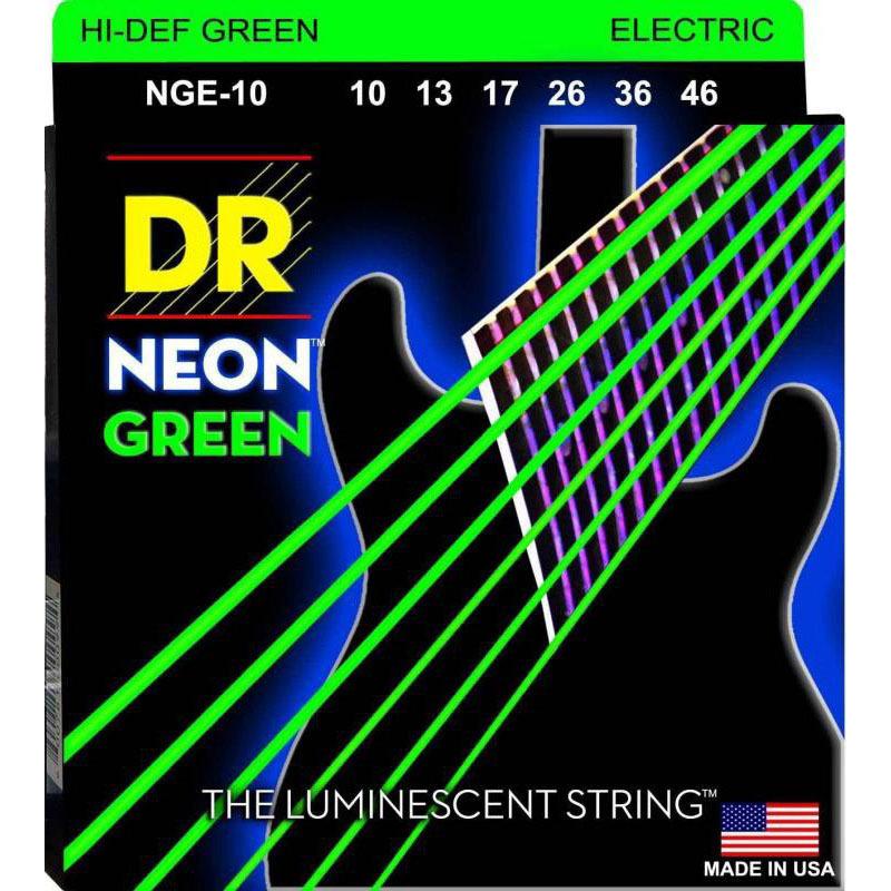 Струны для электрогитары DR NGE-10 Hi-Def Neon Green K3 Coated Medium Electric Guitar Strings 10/46
