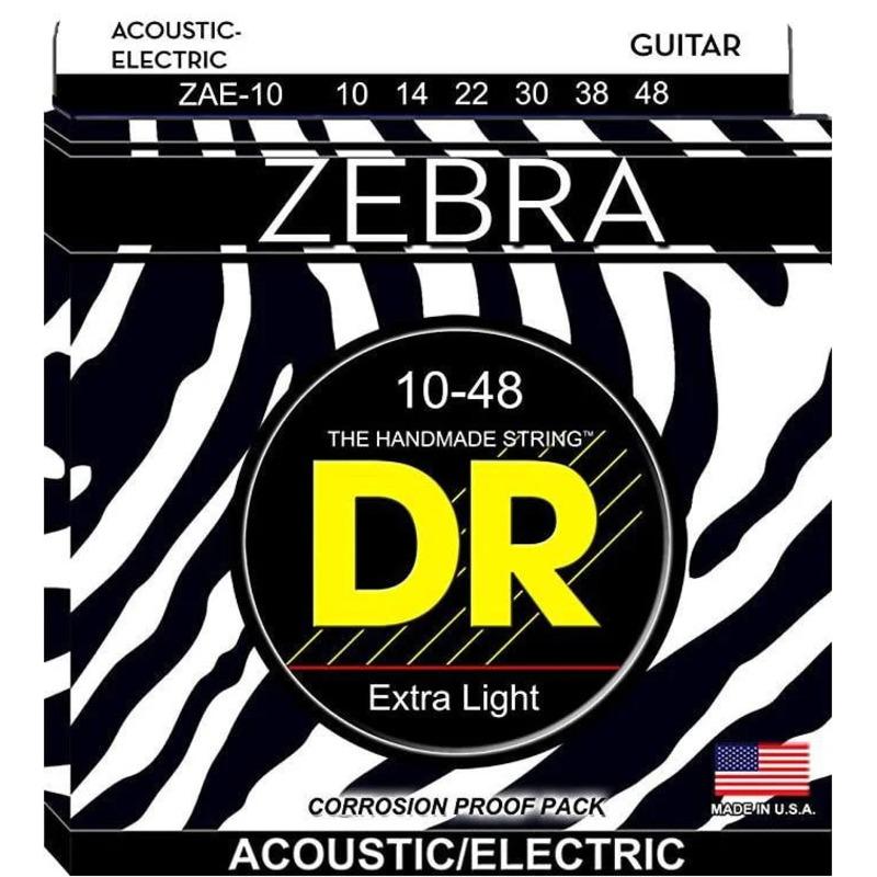 Струны для акустической гитары/электрогитары DR ZAE-10 Zebra Acoustic-Electric Extra Light Guitar Strings 10/48
