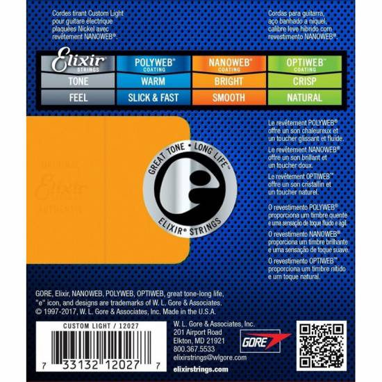 Струны для электрогитары Elixir 12027 Nanoweb Anti Rust Steels Electric Custom Light 9/46