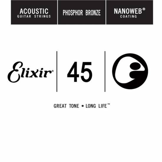 Струна Elixir 14145 Acoustic Nanoweb Phosphor Bronze .045