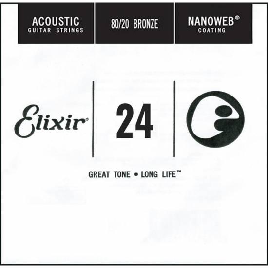 Струна Elixir 15124 Nanoweb 80/20 Bronze Acoustic .024